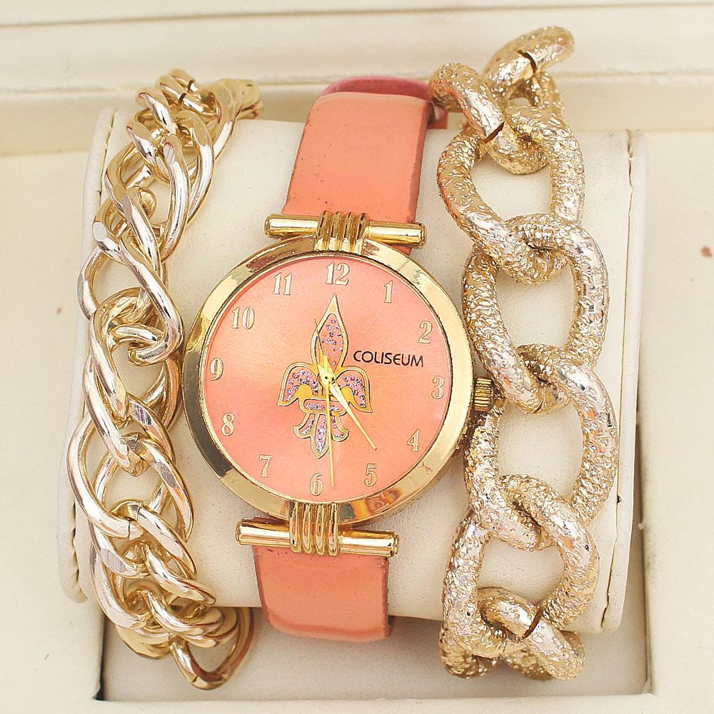 Coliseum Peach Leather Ladies Watch & Bracelet Gift Set