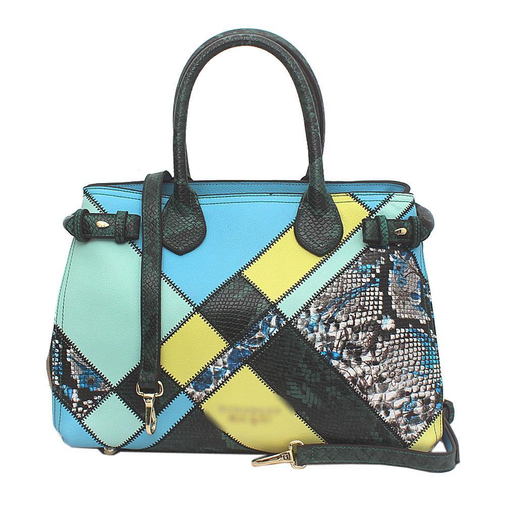 Blue Mix Saffiano Leather Patchwork Bag