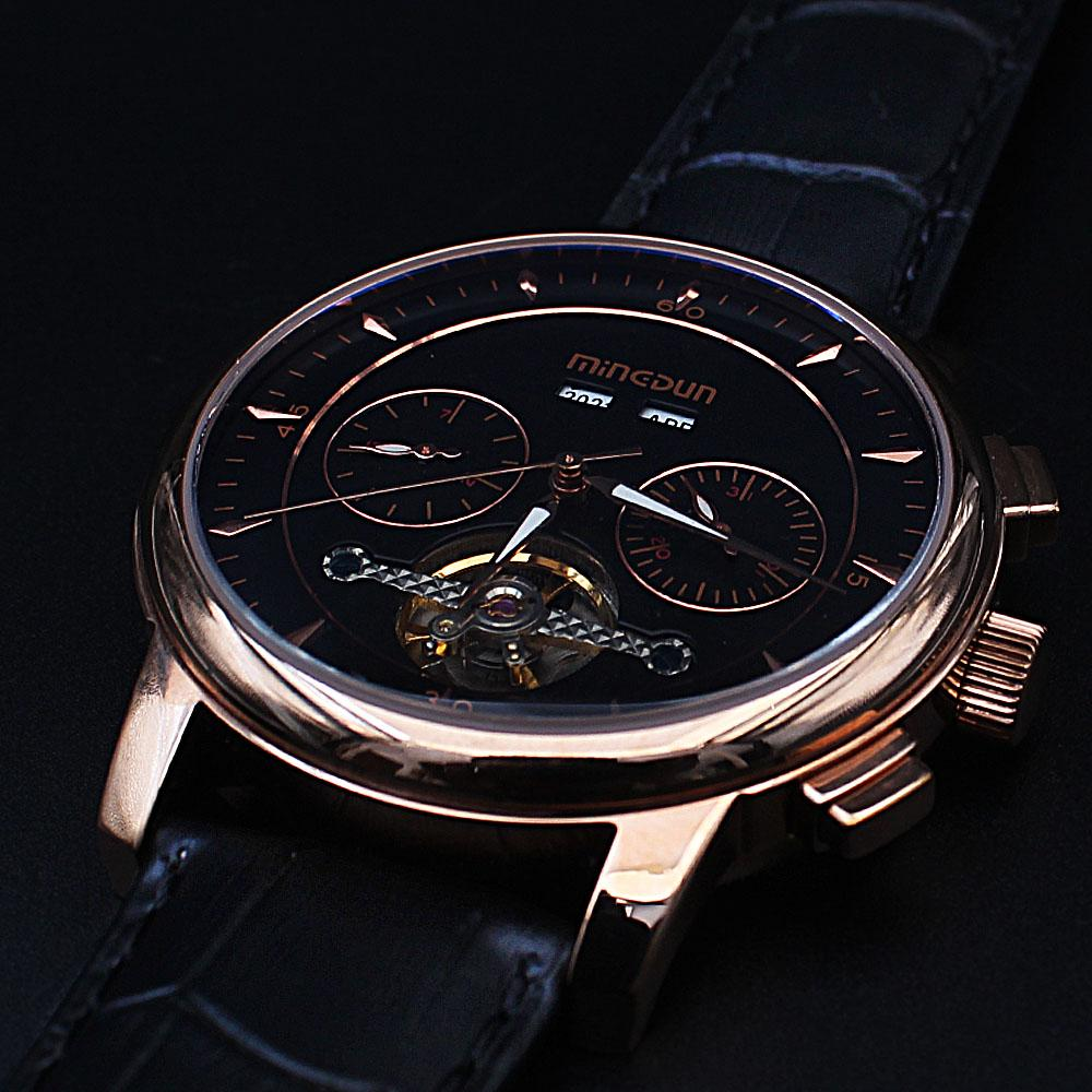 Shanghai Marcello Gold Black Leather Automatic Divers Watch
