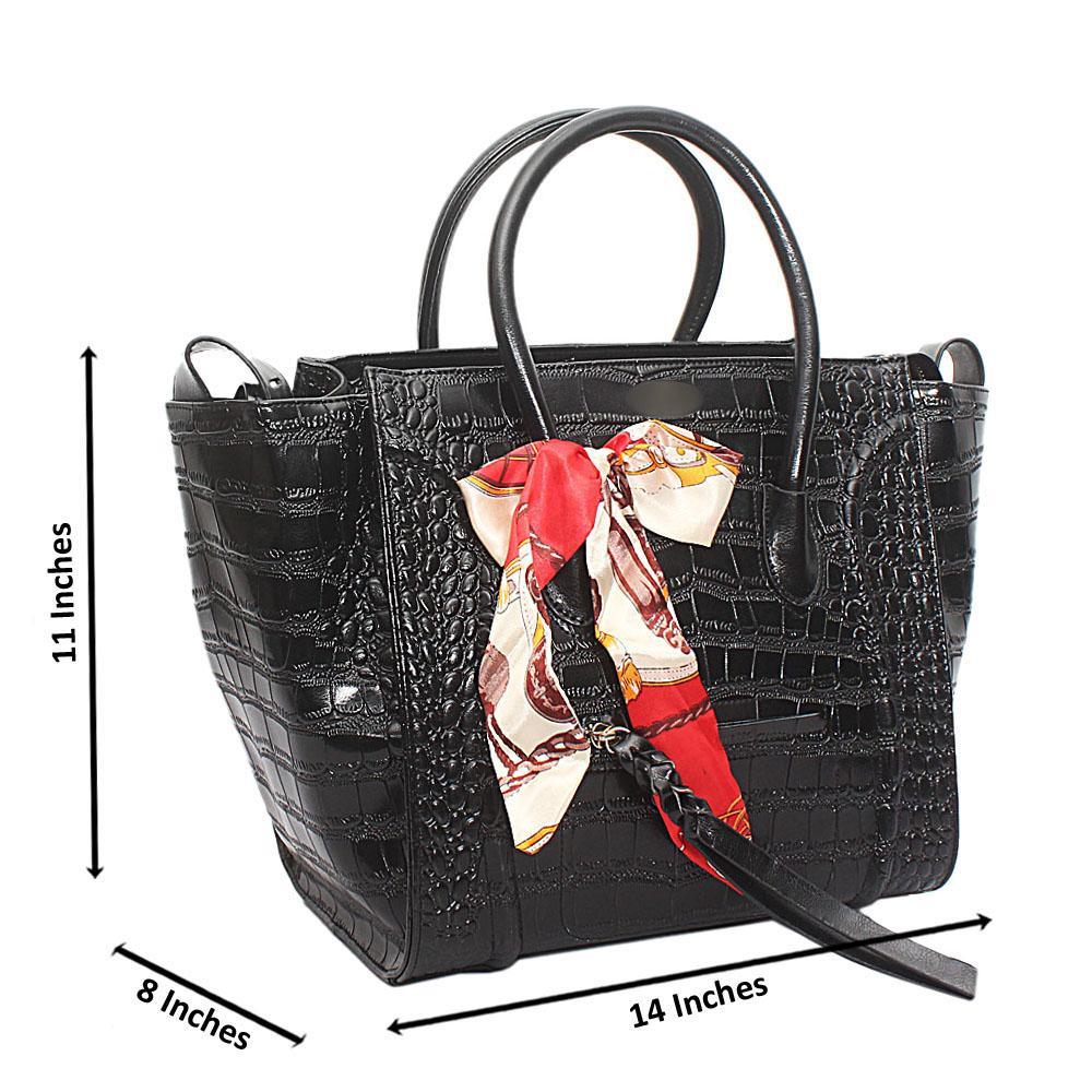 Black Patent Skin Luggage Saffiano Leather Handbag
