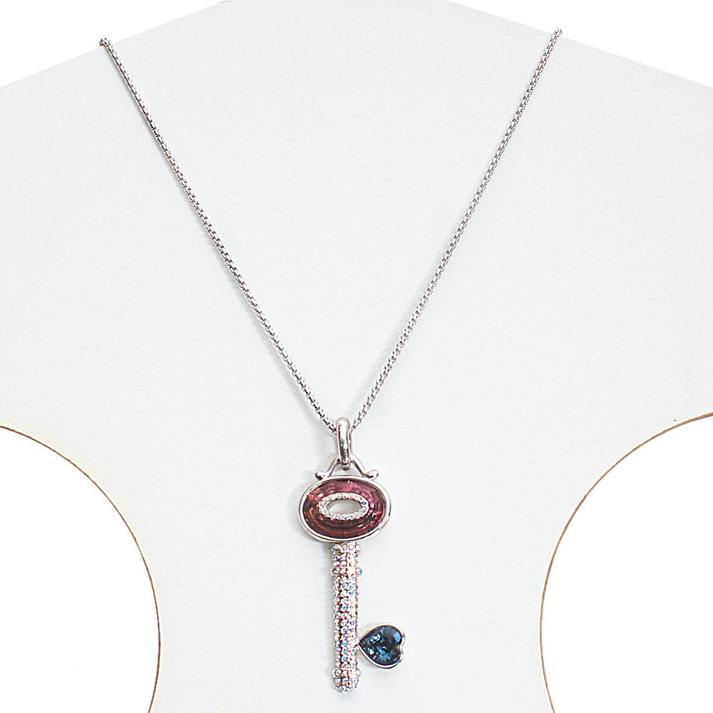 Long Stainless Steel Necklace with Swarovski Elements Key Pendant