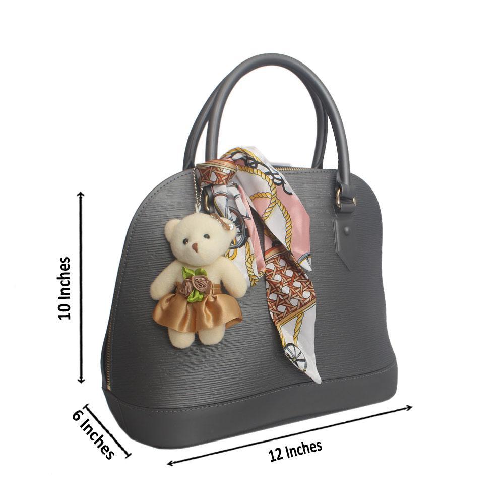 Grey Etched Rubber Handbag