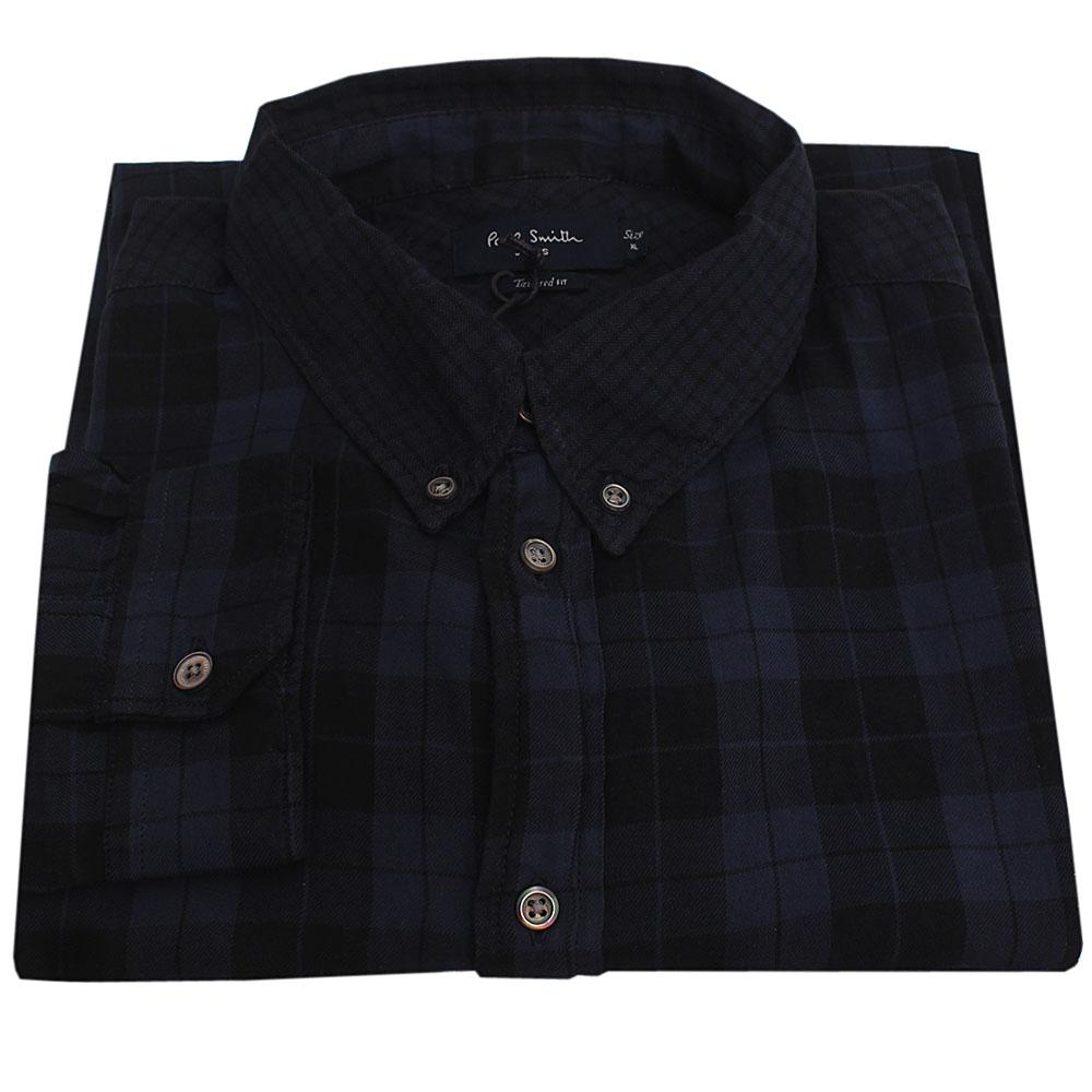 Paul Smith Navy Black Tailored Fit L/Sleeve Men Flannel Shirt