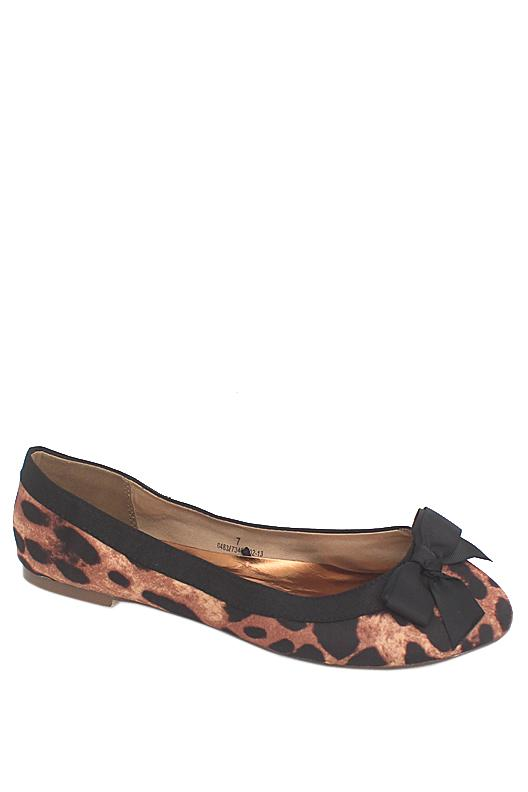 M & S Woman Brown Black Animal Print Fabric Ladies Flat Shoe