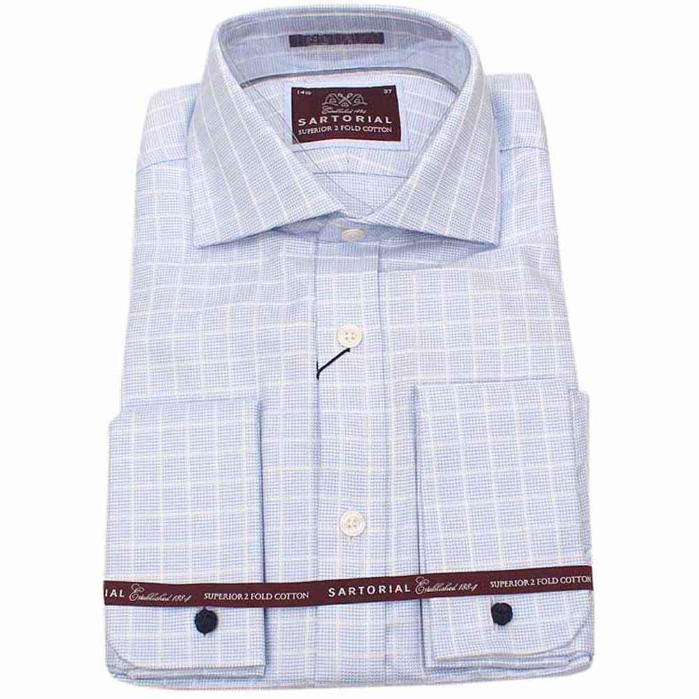 Sartorial Blue White Check Long Sleeve Men Cuff Shirt-Sz 14.5
