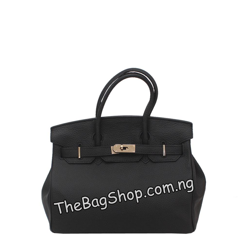 London Style Black Leather Medium Tote Bag