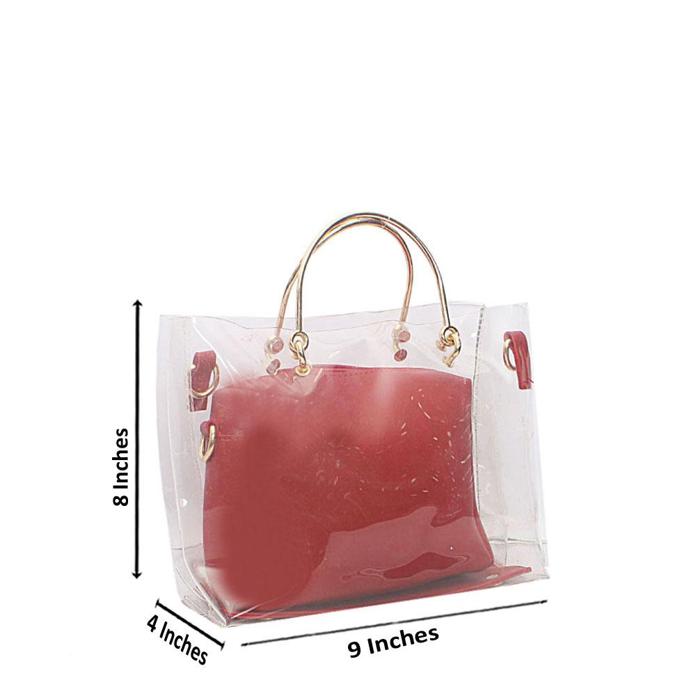 Red Transparent Ice Rubber Leather Mini Bag