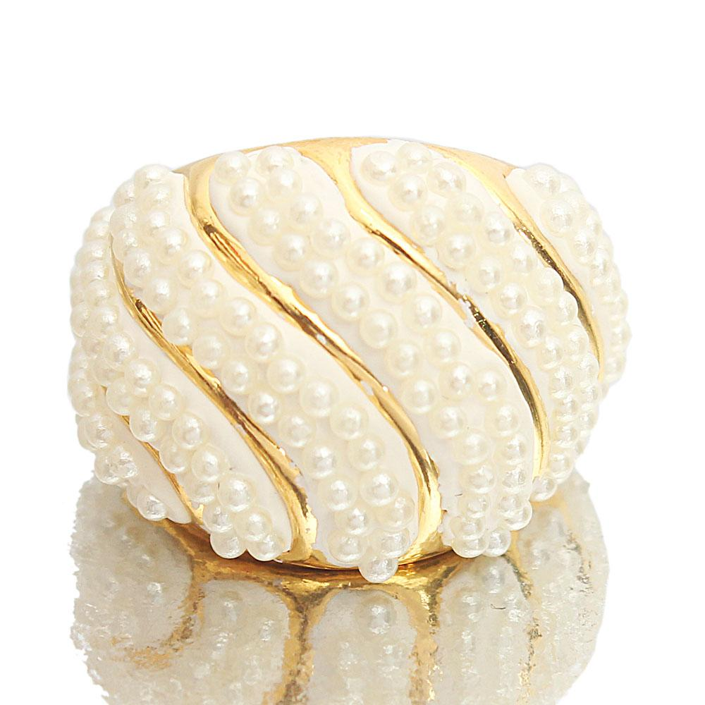 Gold Steel Pearl Luxury Ladies Ring