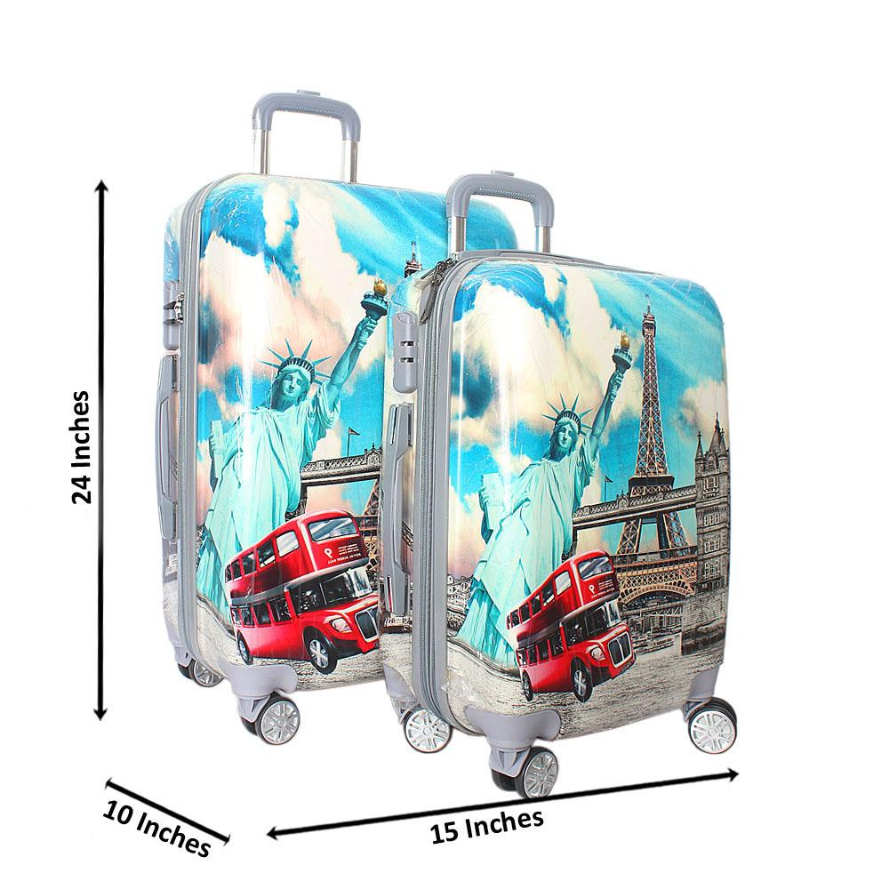 London Tower 24 inch wt 20 inch 2-in-1 Hardshell Spinners Suitcase Set