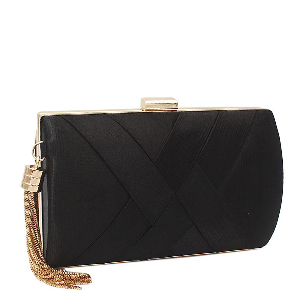 Black Pleated Satin Clutch Purse