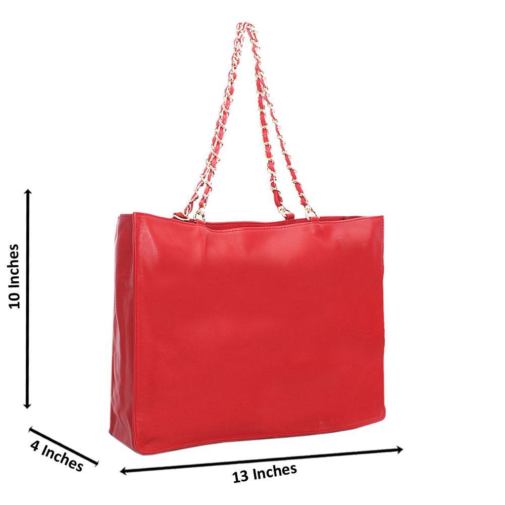 Red Cowhide Leather Chain Shoulder Handbag