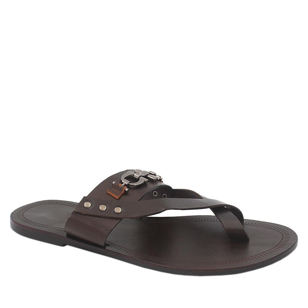Brown Italian Leather Men Slippers