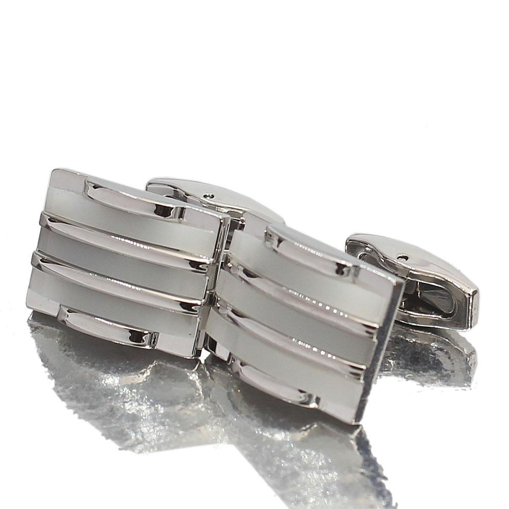 Montego Etched Pearl Silver Stainless Steel Cufflinks