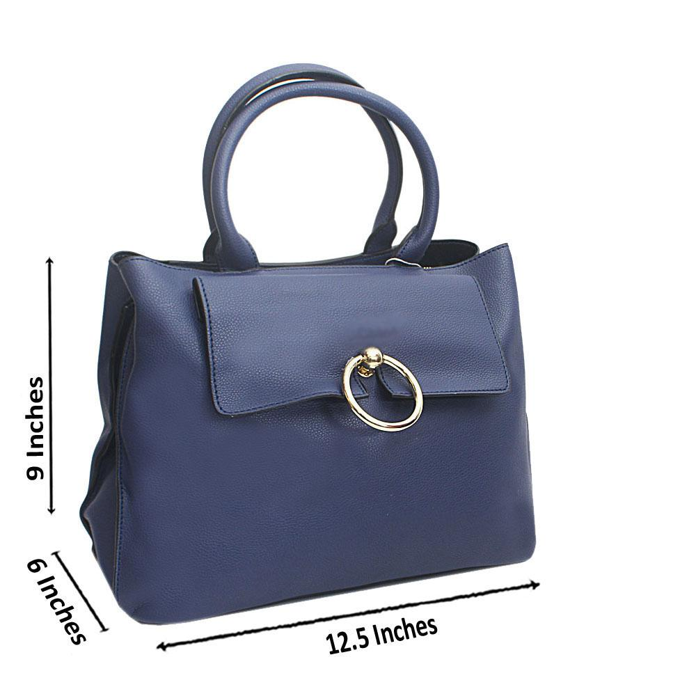 Navy Florence Saffiano Leather Tote Handbag