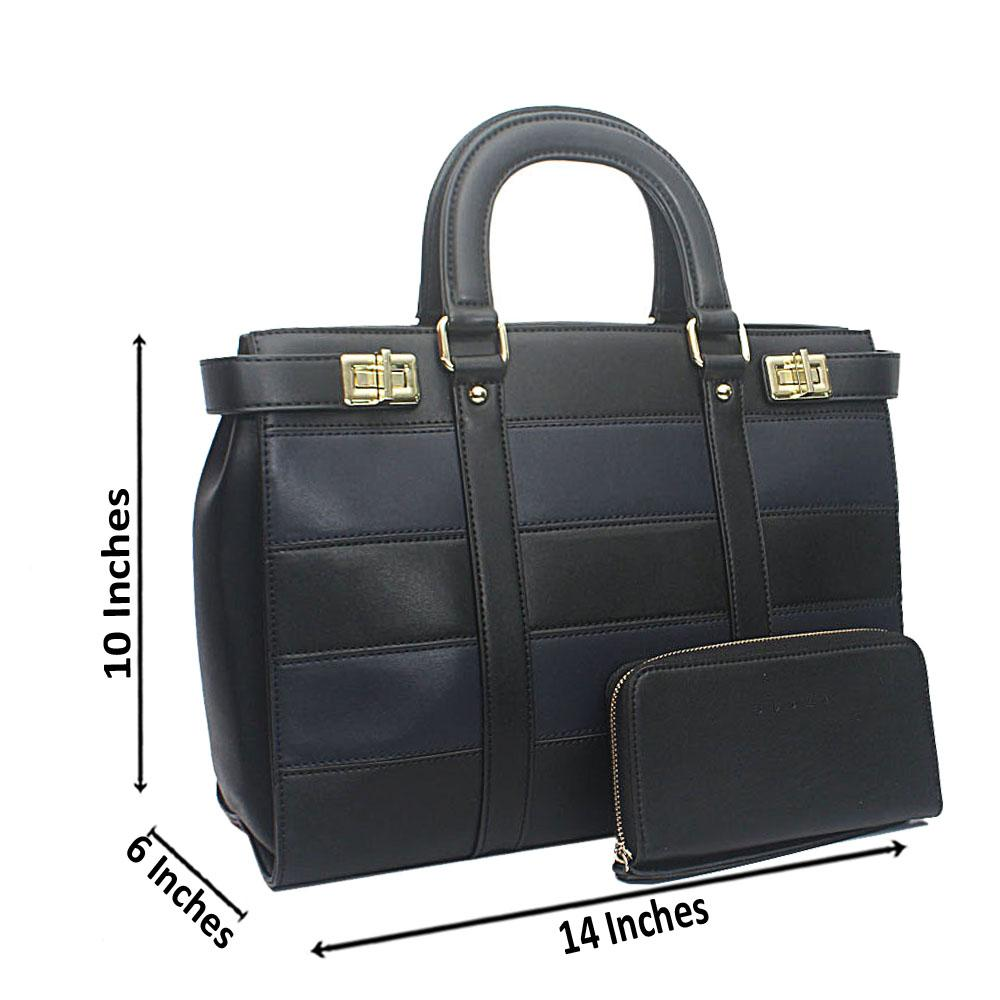 Susen Black Square Leather Handbag