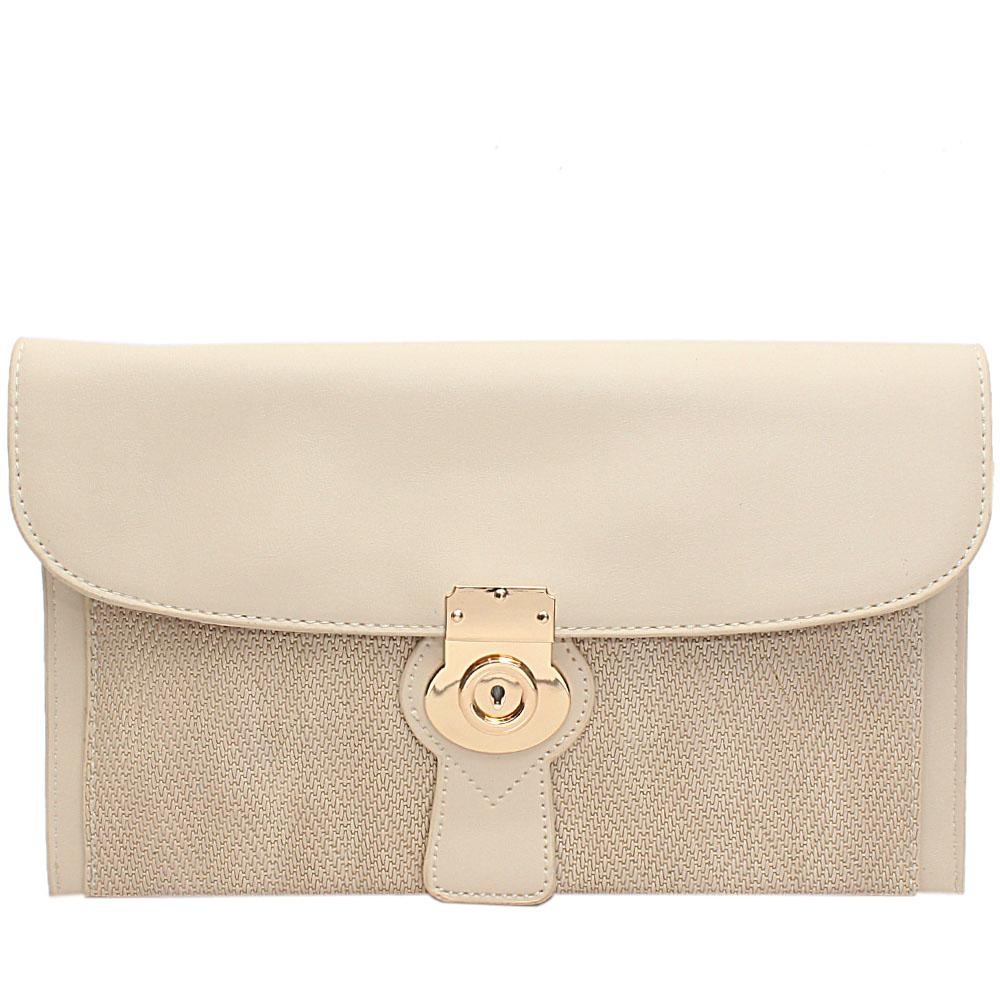 Cream Woven Miliano Style Leather Flat Purse