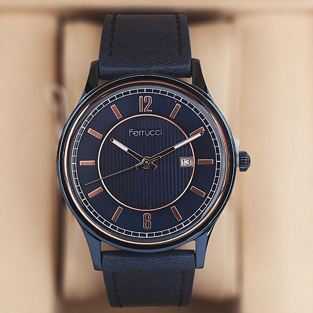 Ferrucci Blue Leather Watch