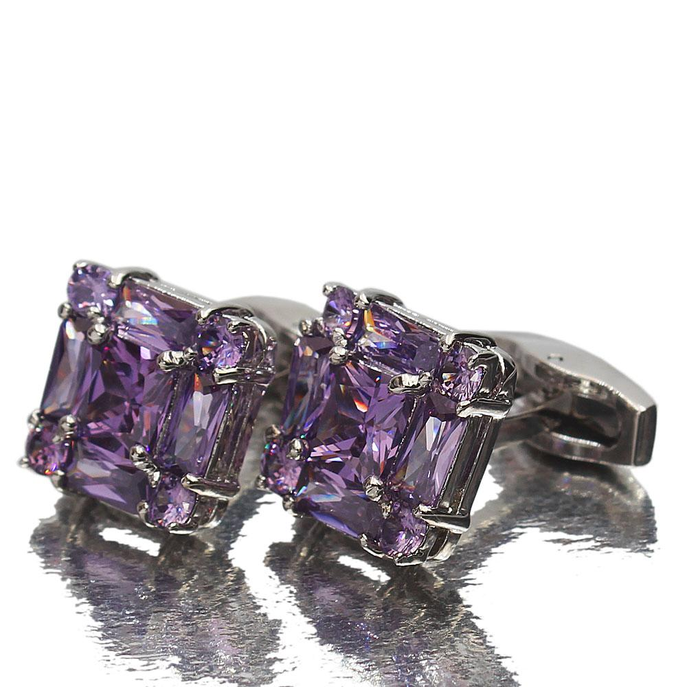 Silver Purple Diamond Ice Stainless Steel Cufflinks