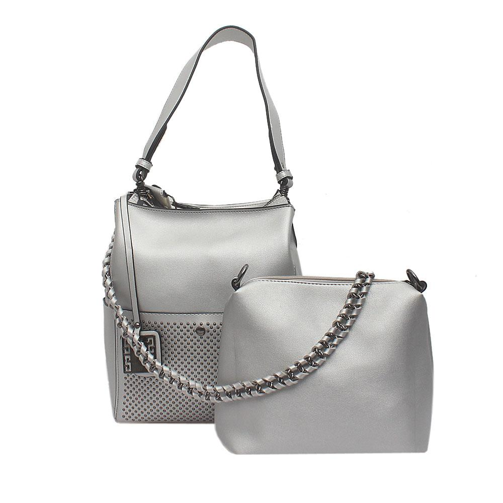 London Style Silver Leather Shoulder Bag Wt Purse