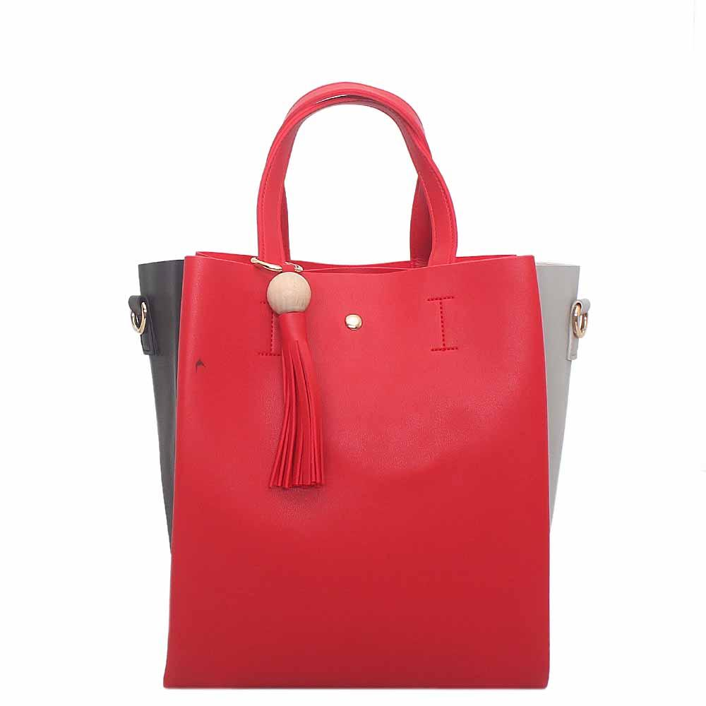 Red Black Grey Leather Handbag
