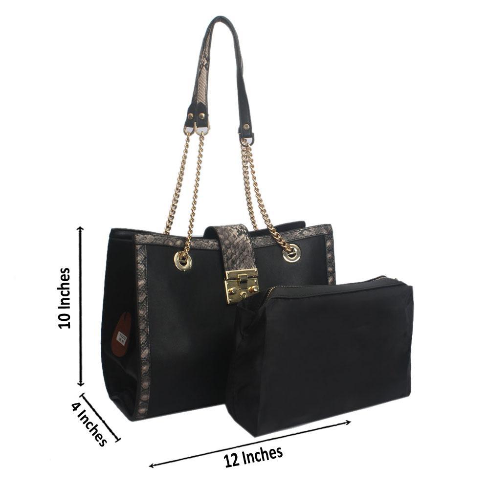 Black Croc Leather Crossbody Bag