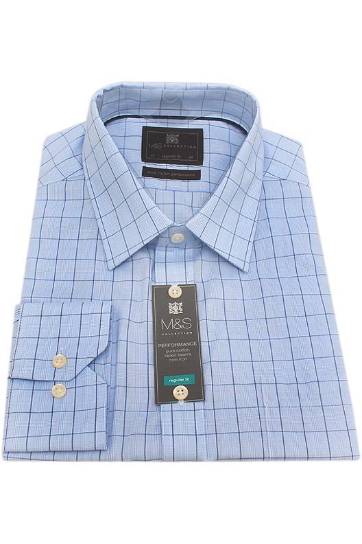 M&S Collection Blue Check Regular Fit Men Shirt