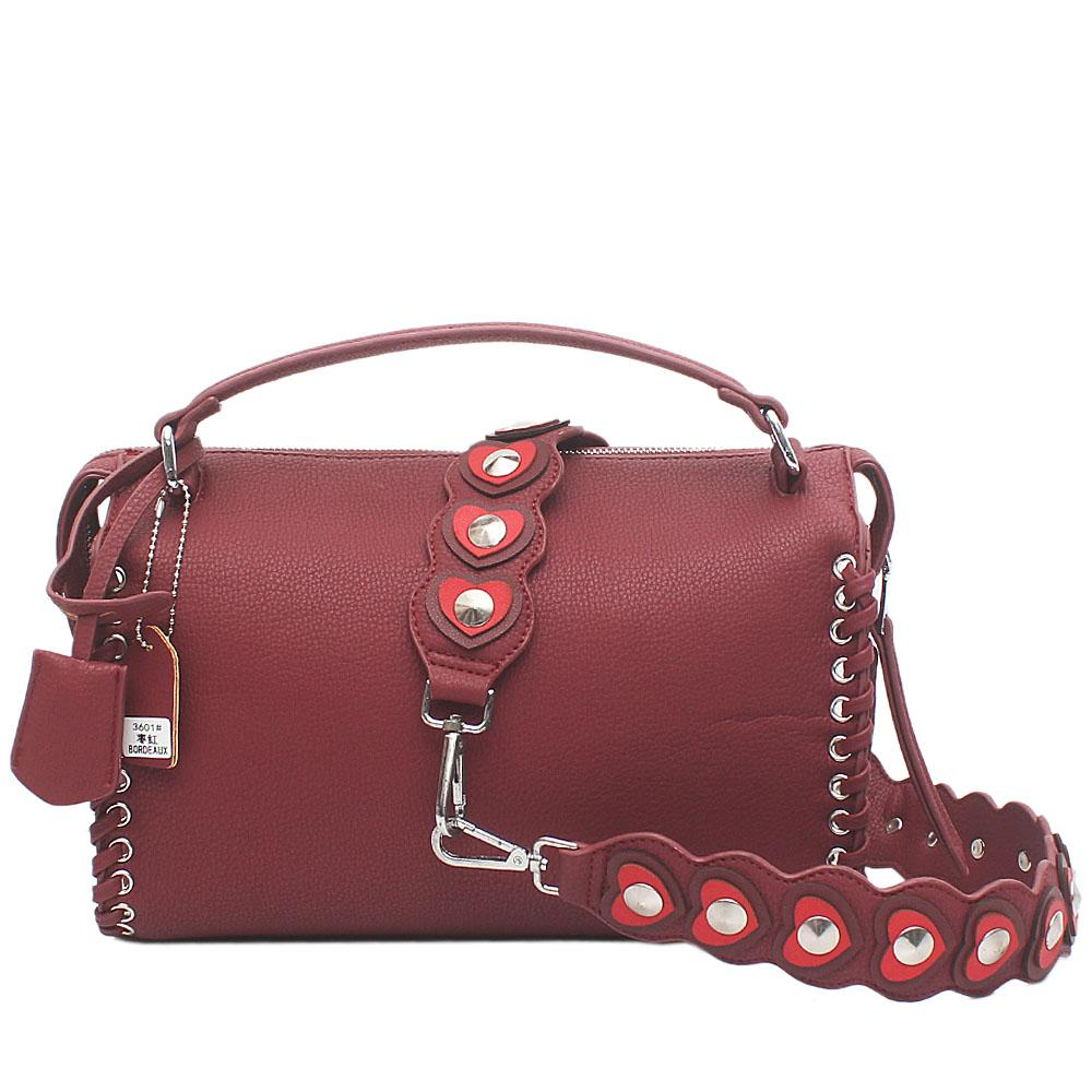 Nottinghill Maroon Red Leather Handle Bag