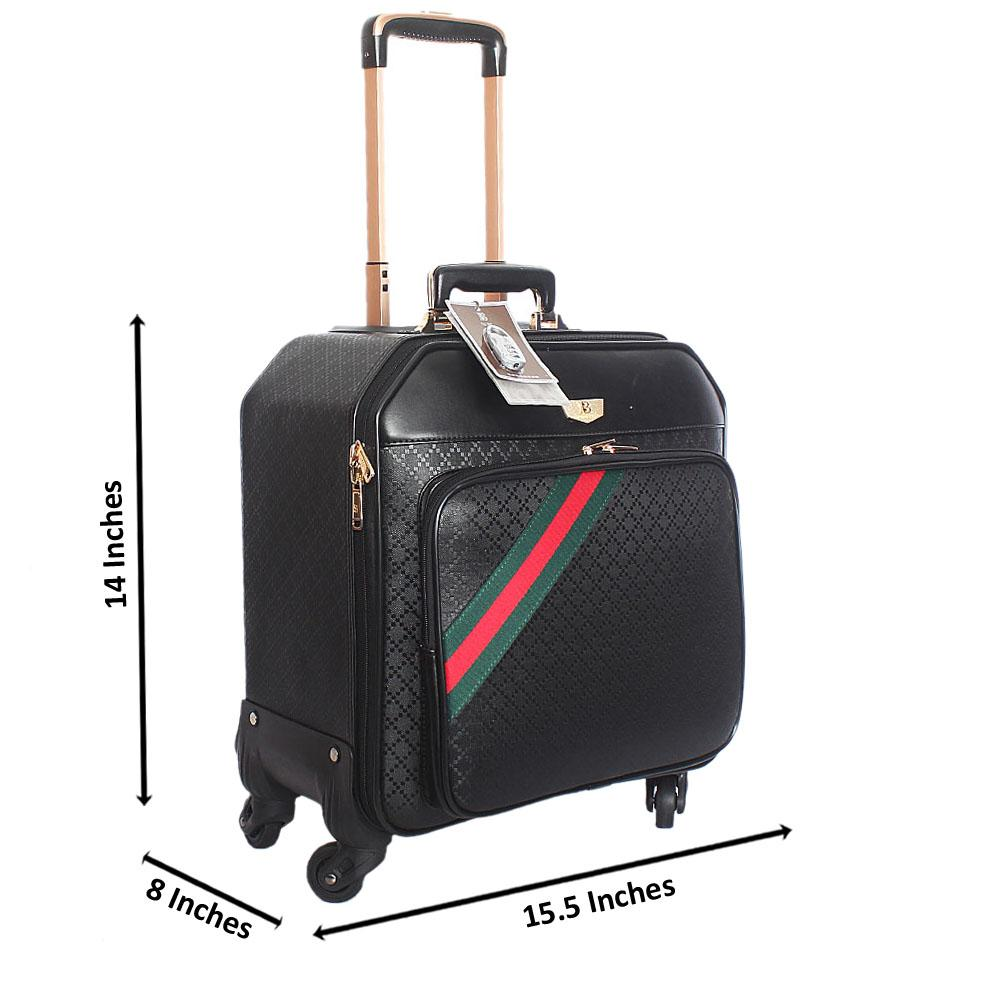 Black Huggies Leather 14 Inch Pilot Suitcase Wt Padlock