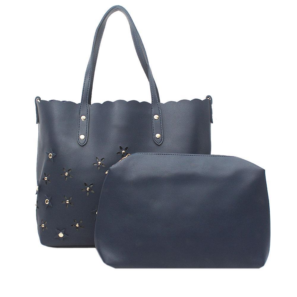Navy Blue Leather  Shoulder  Bag Wt Purse