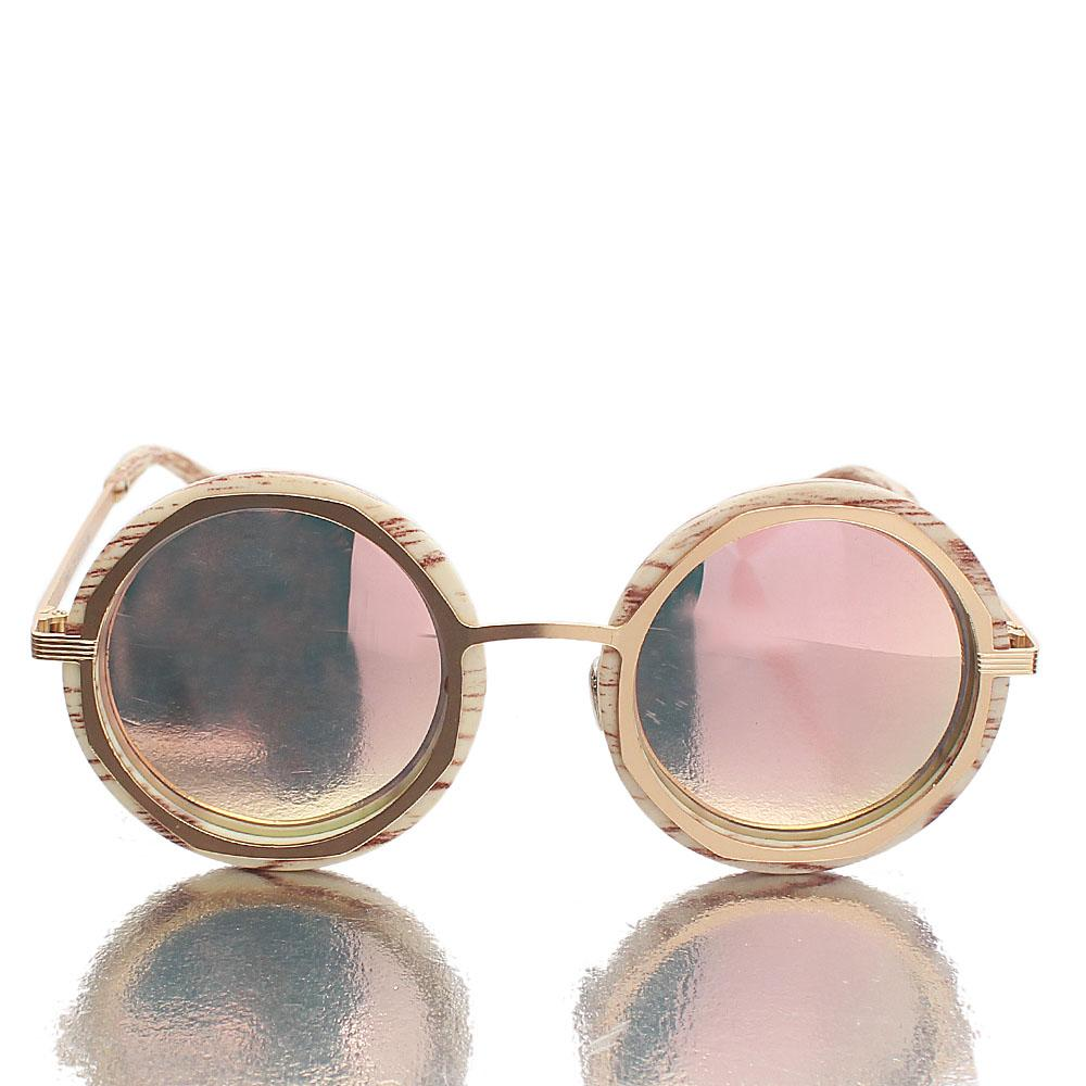 Gold Cream Round UV Polarized Sunglasses