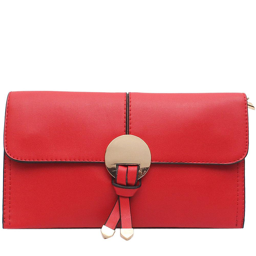 Red Leather Flat Clutch