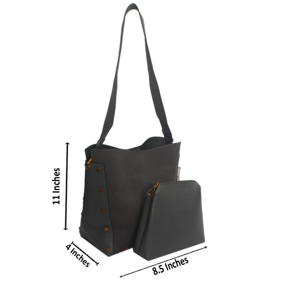 Grey Suede Stud Leather Shoulder Handbag