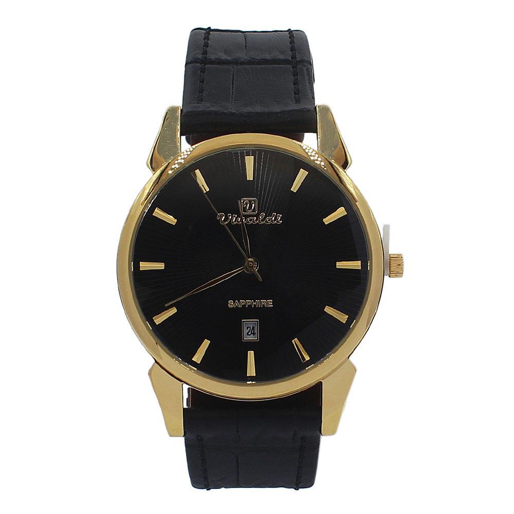 Black-Gold-Jose-Leather-Flat-Watch