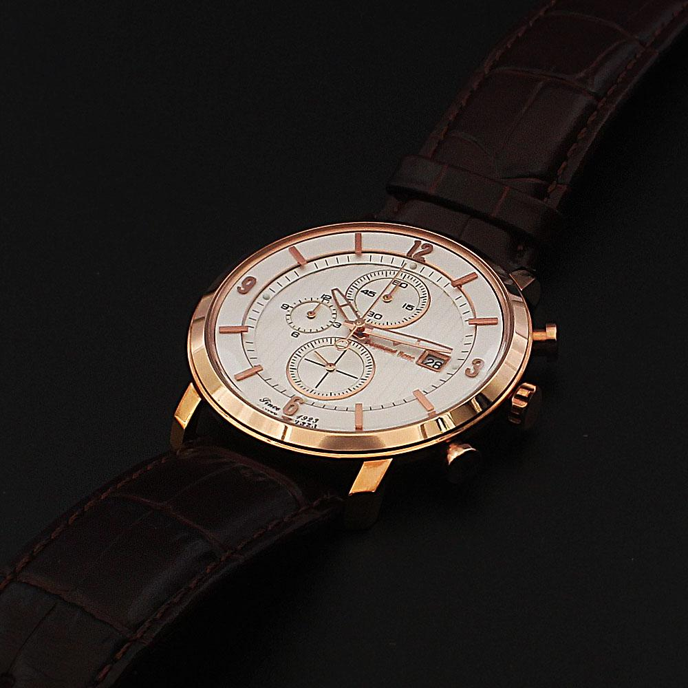 Daymond Rene 5 ATM Gold Coffee Leather Chronograph Watch