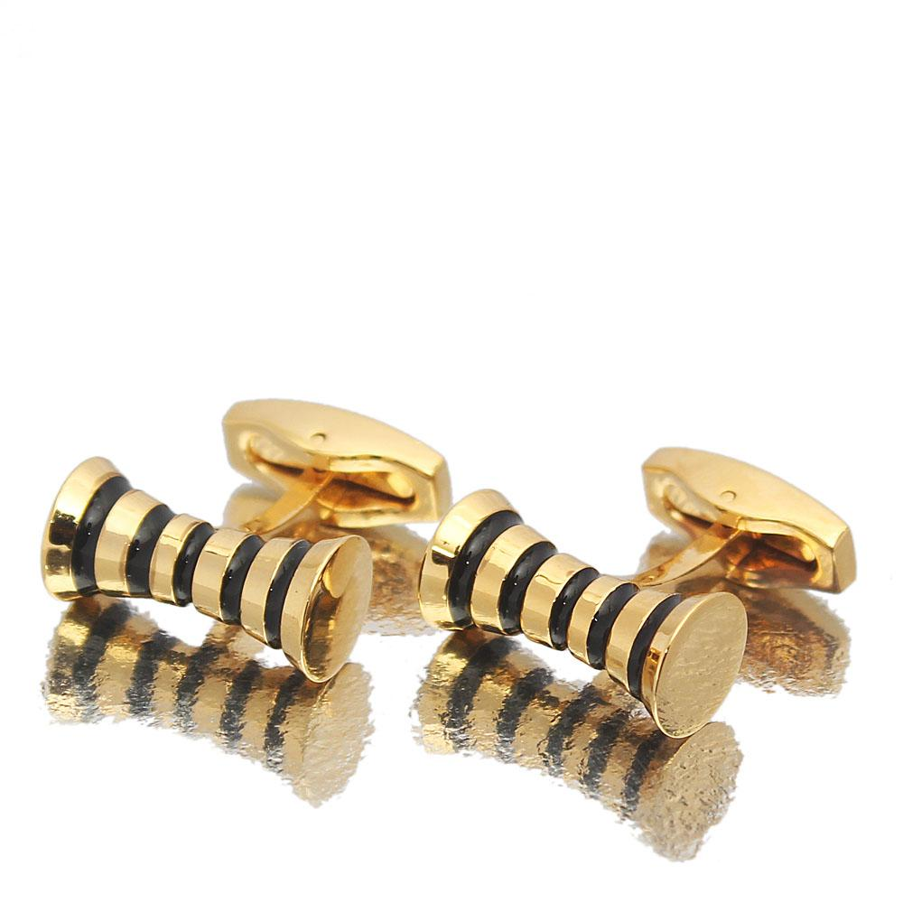 Gold Black Gang Styled Stainless Steel Cufflinks
