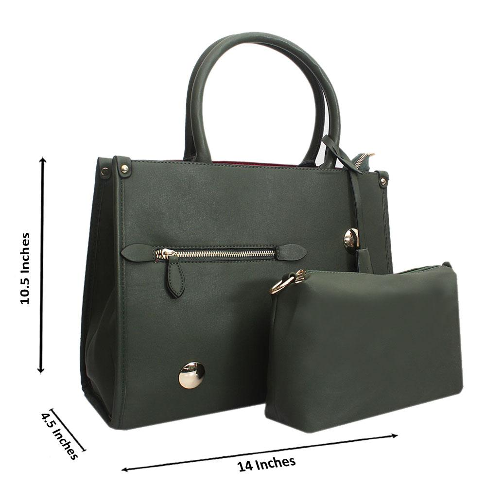 Green Leather Medium Norah Handbag