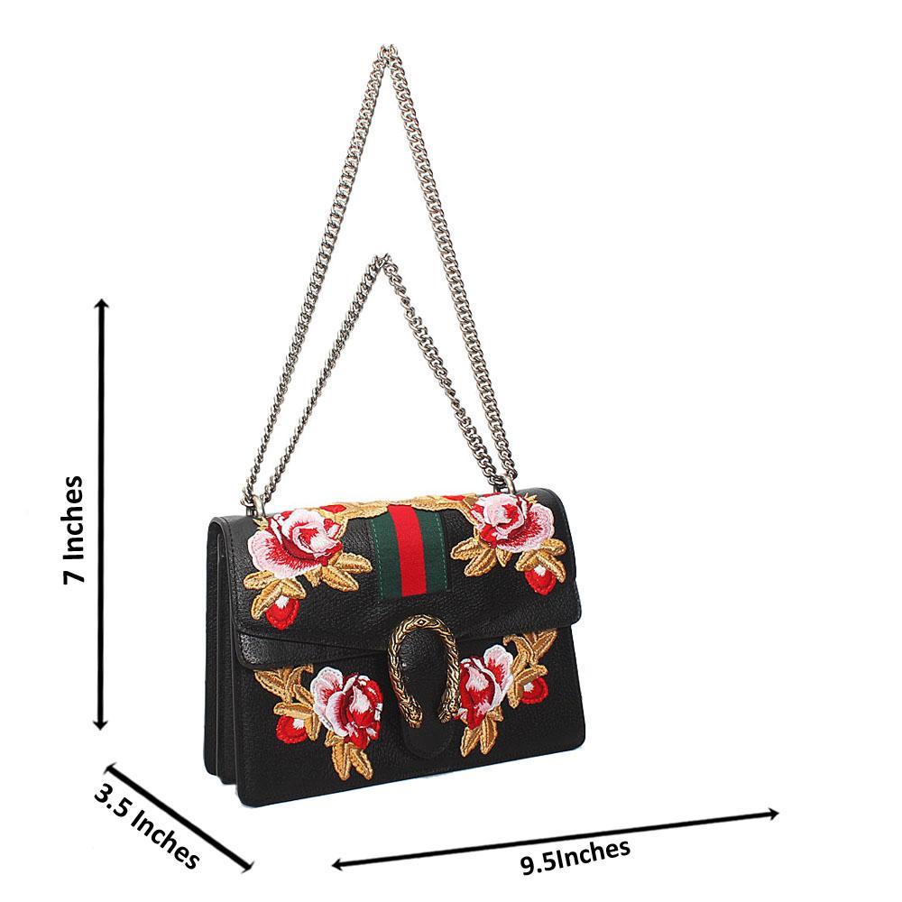 Black Rose Flora Saffiano Leather Chain Crossbody Handbag