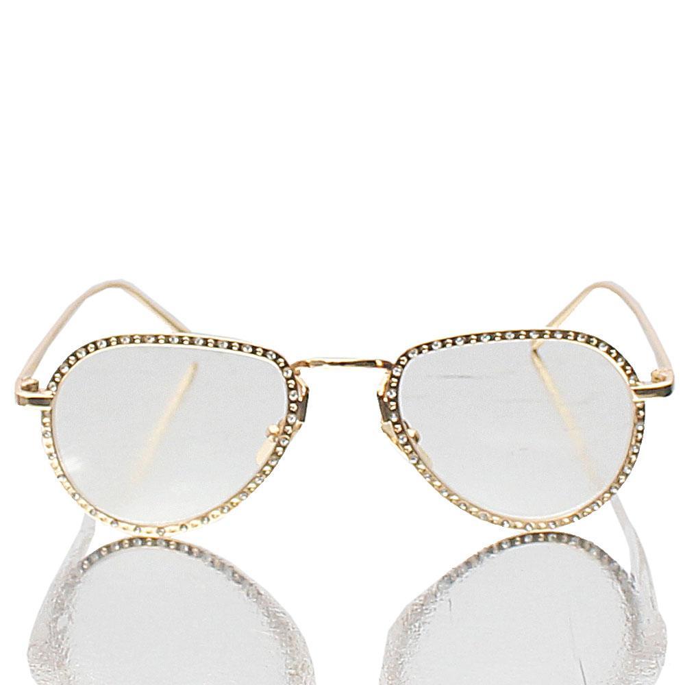 Gold Aviator Studded Transparent Lens Glasses