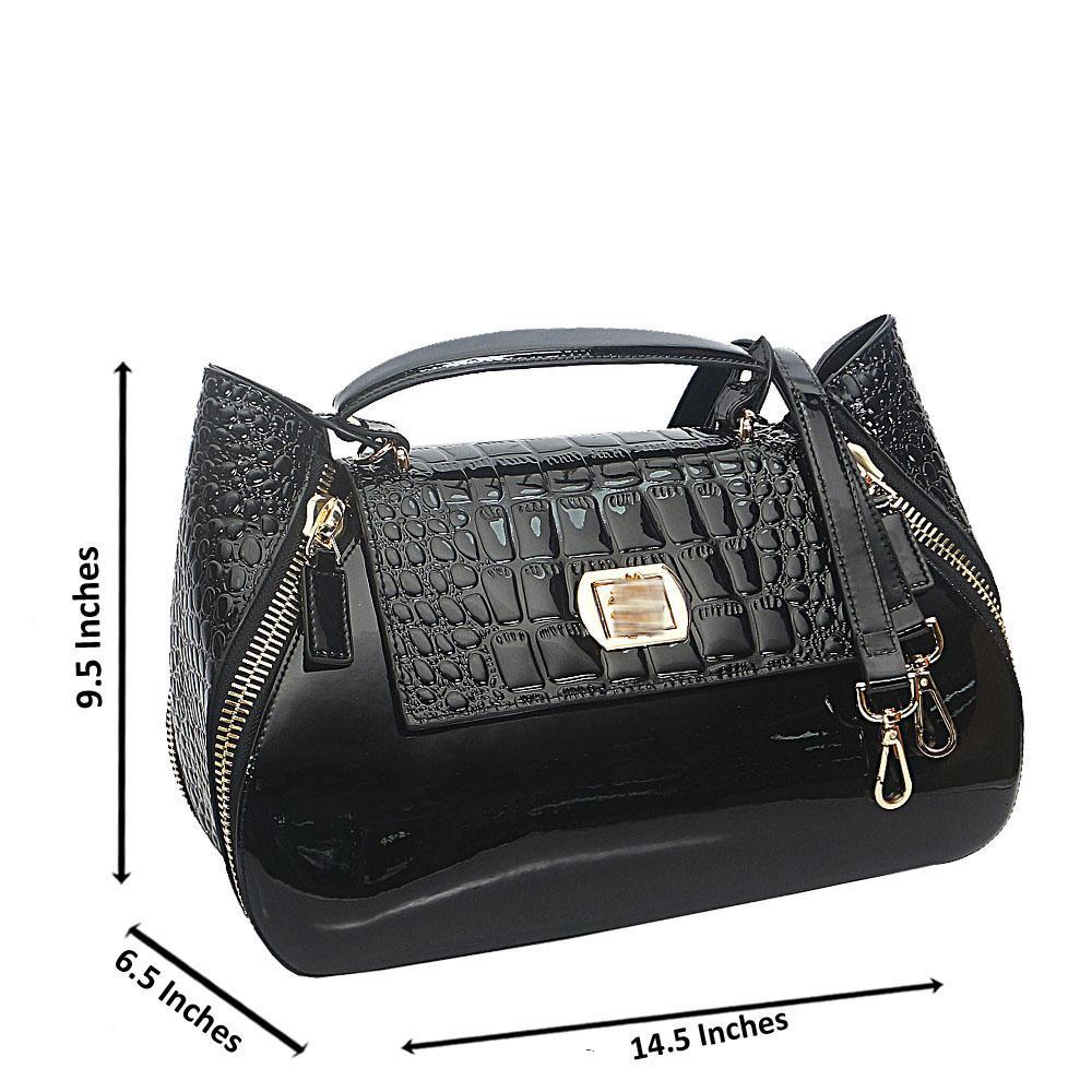 Black Croc Patent Saffiano Leather Top Handle Handbag
