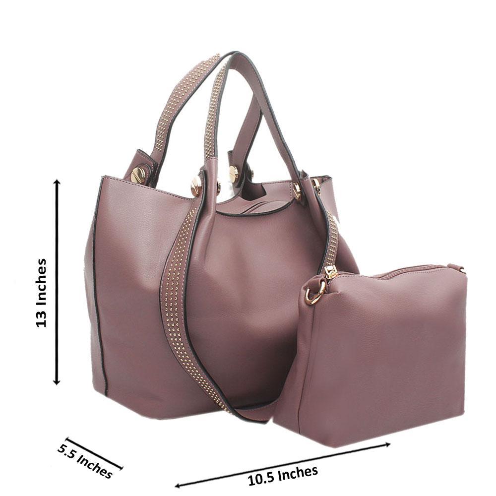 Lilac Studded Leather Shoulder Handbag