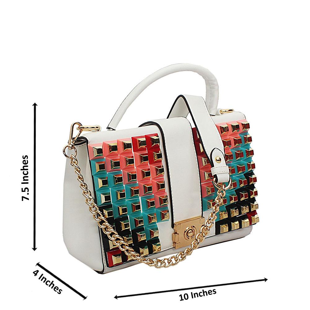 White Rosie Studded Tuscany Leather Top Handle Handbag