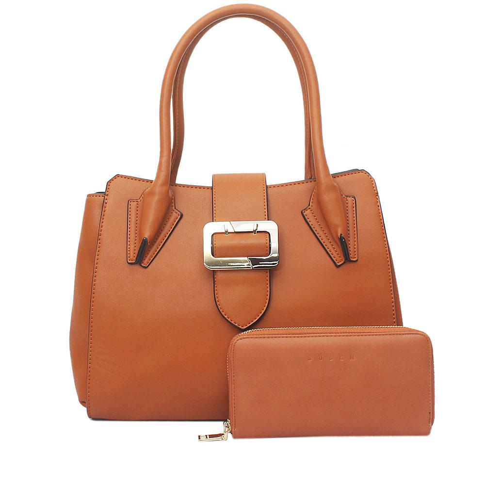 Susen Brown Leather Tote Bag Wt Purse