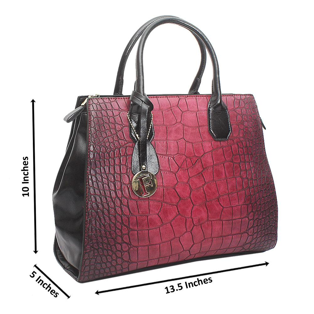 Wine Black Avalon Medium Croc Leather Handbag