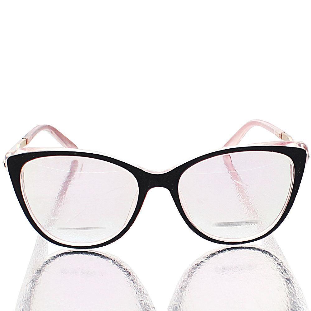 Black Transparent Light Pink Lens Glasses