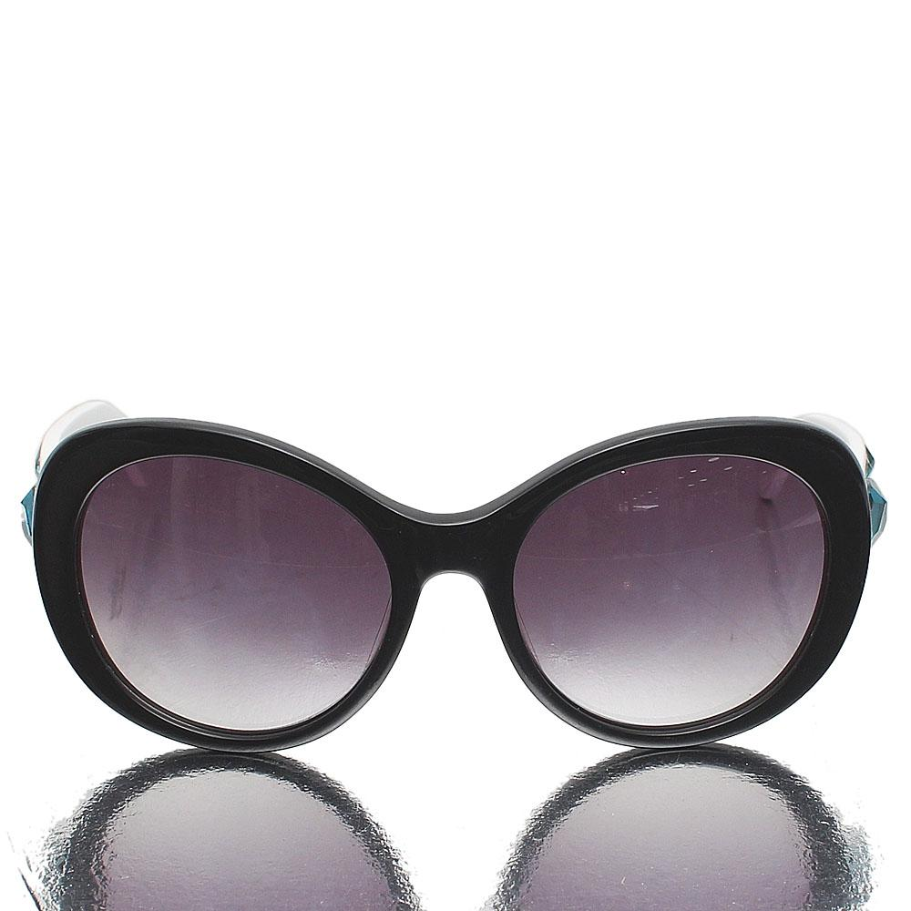 White Black Oblong Dark Lens Sunglasses