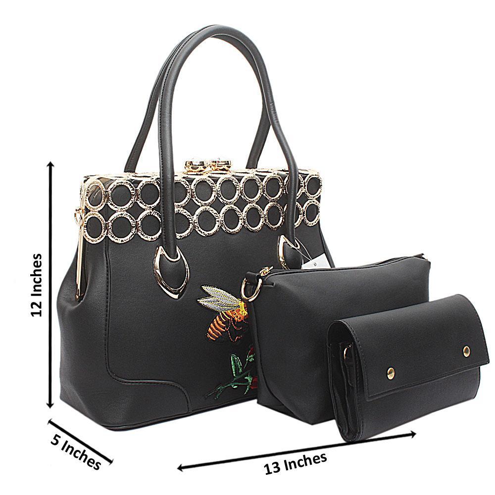 3 in 1 Black Leather Vintage Handbag Wt Gold Platings