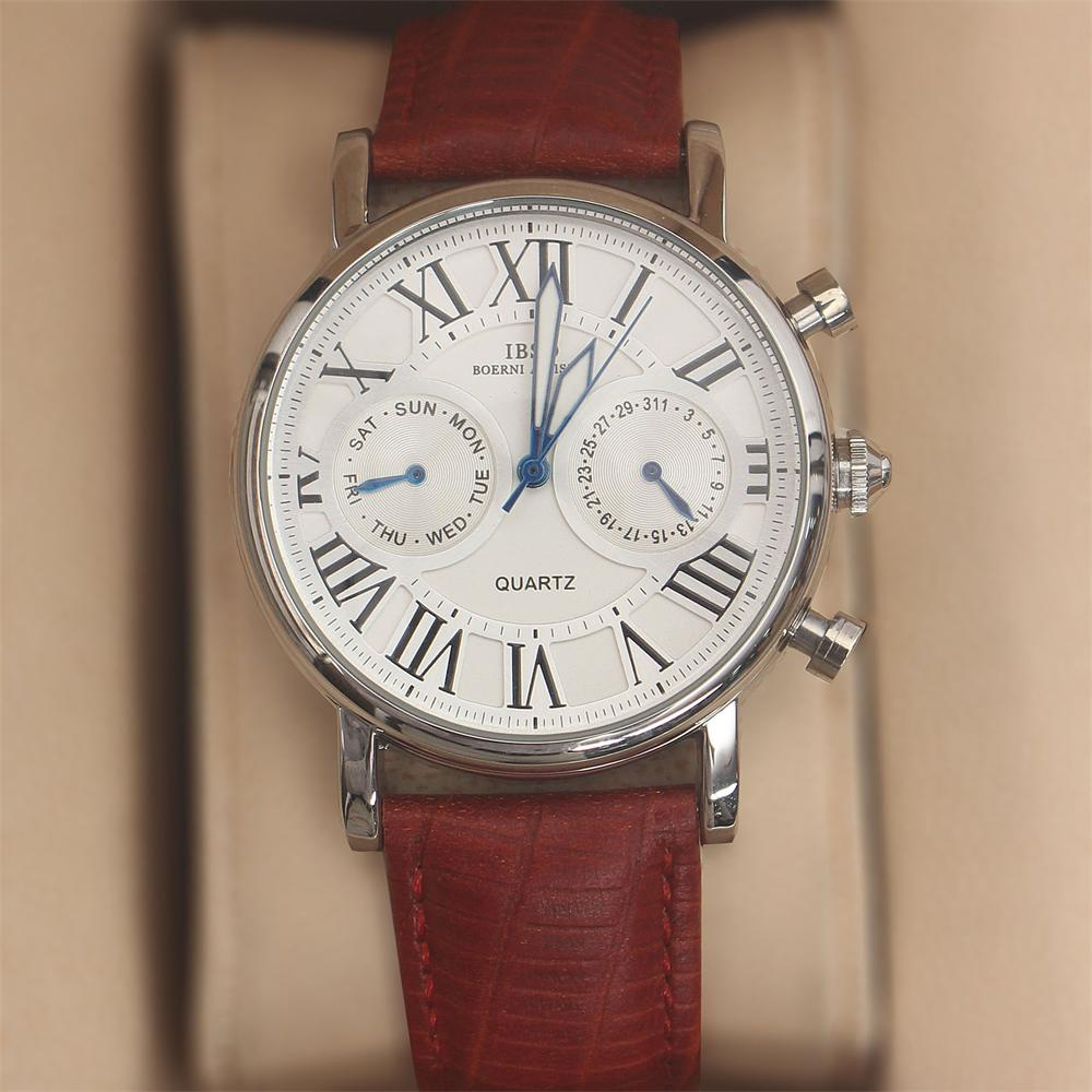 Martinez Red White Leather Classic Ladies Watch