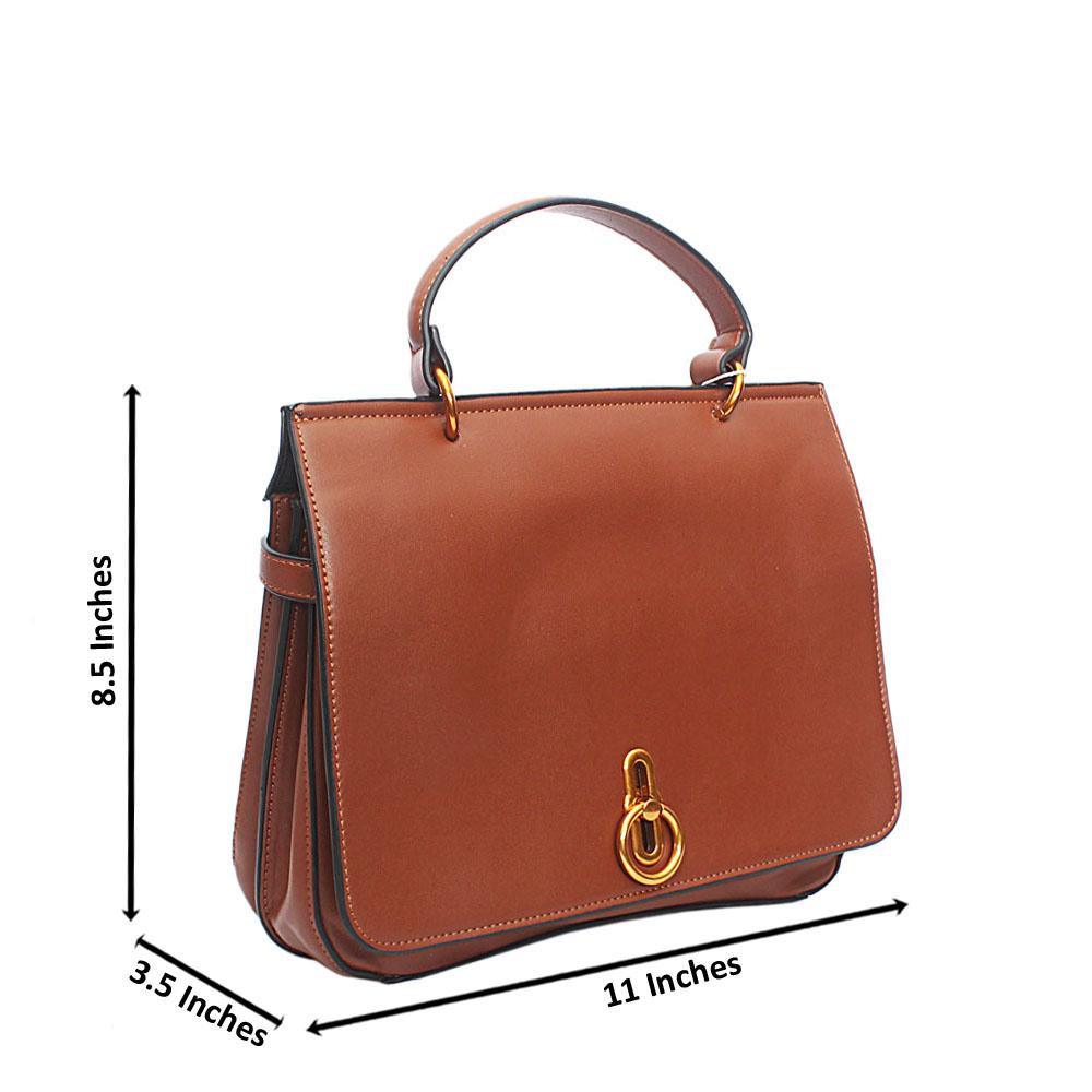 Brown Leather Square Barbie Single Handle Bag