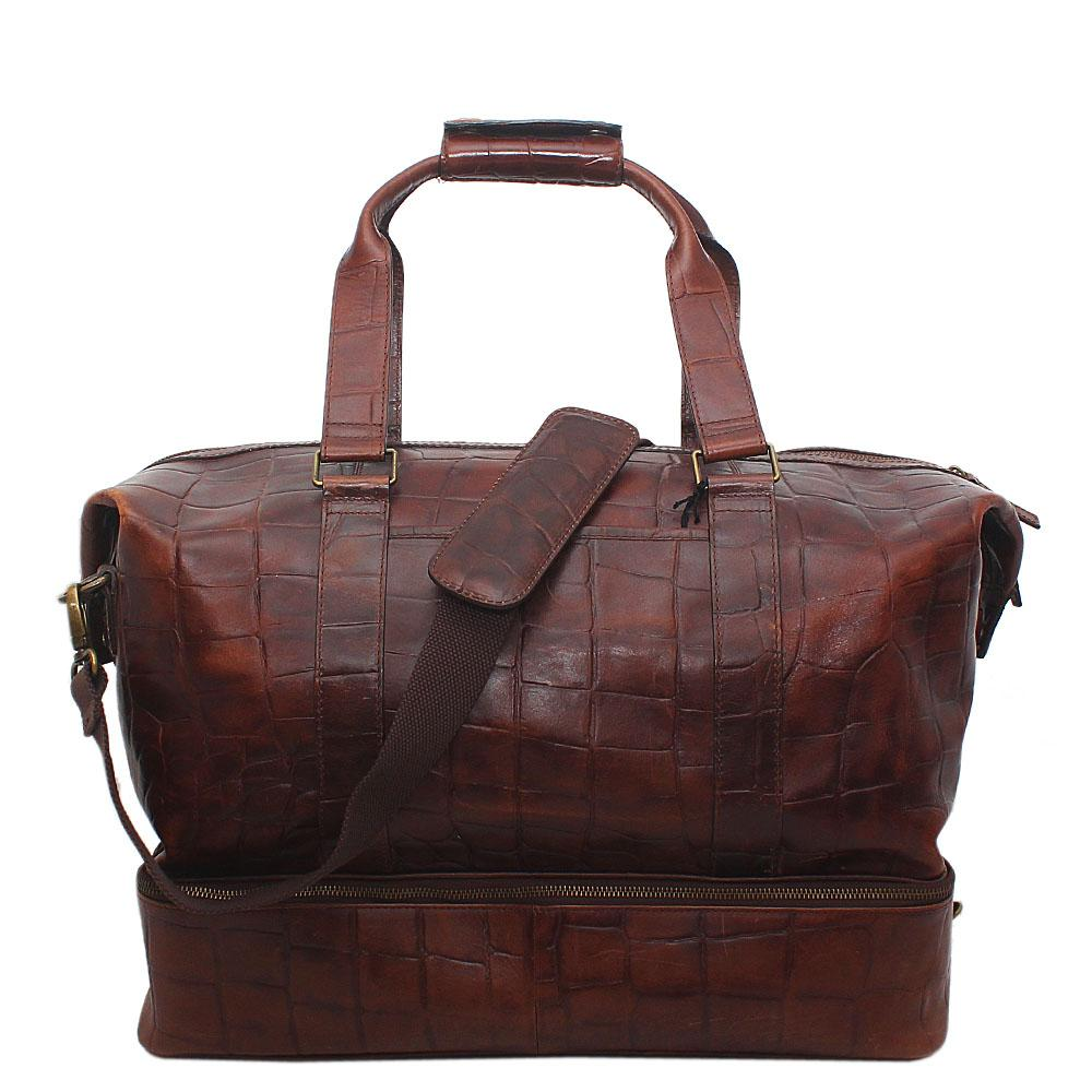 Mark & Spencer Autograph Brown Croc Leather Travelling Bag