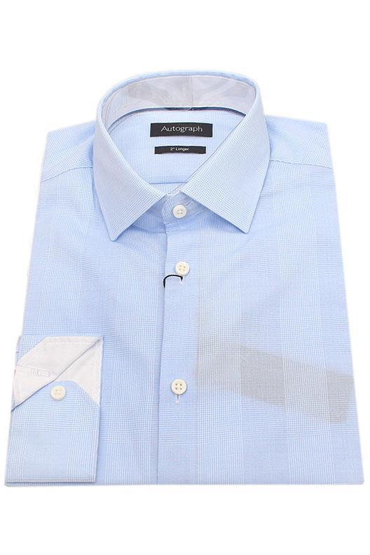 """Autograph Blue White Check 2"""" Longer Men Shirt"""